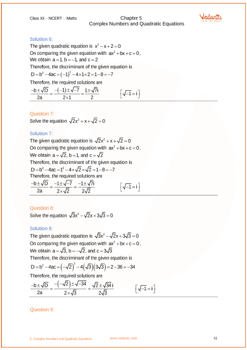 NCERT Solutions for Class 11 Maths Chapter 5 Complex Numbers and