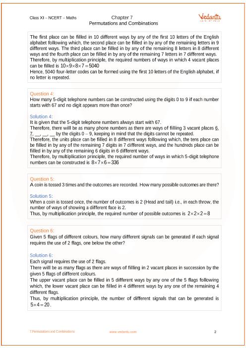 NCERT Solutions for Class 11 Maths Chapter 7 Permutations