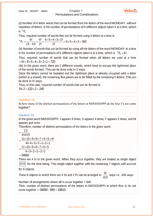 NCERT Solutions for Class 11 Maths Chapter 7 Permutations