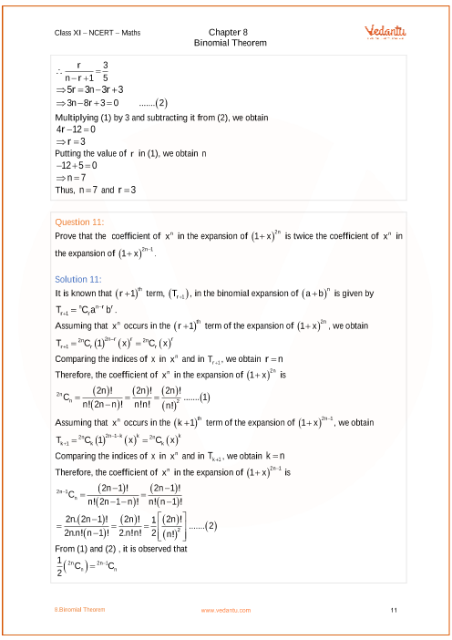 NCERT Solutions for Class 11 Maths Chapter 8 Binomial Theorem - Free PDF