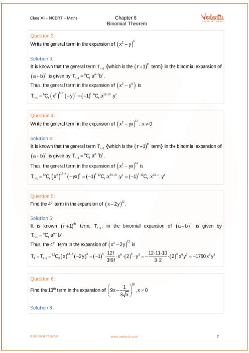 NCERT Solutions for Class 11 Maths Chapter 8 Binomial