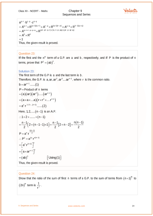 NCERT Solutions for Class 11 Maths Chapter 9 Sequences and