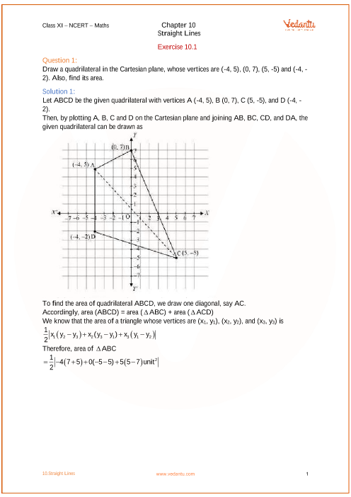 NCERT Solutions for Class 11 Maths Chapter 10 Straight Lines