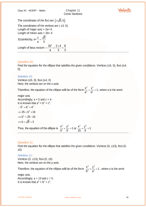 NCERT Solutions for Class 11 Maths Chapter 11 Conic Sections - Free PDF