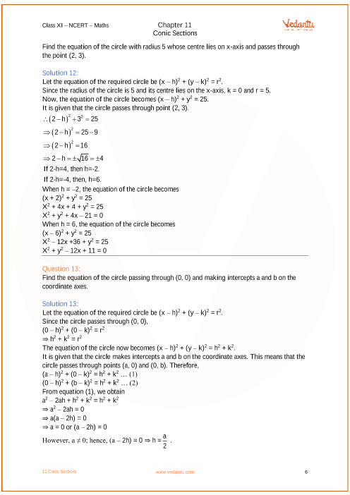 NCERT Solutions for Class 11 Maths Chapter 11 Conic Sections