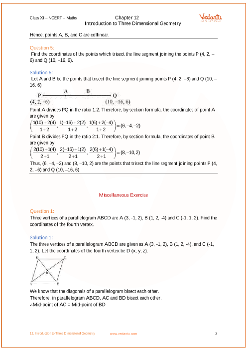 NCERT Solutions for Class 11 Maths Chapter 12 Introduction to Three
