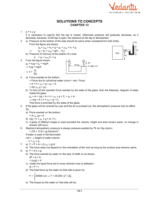 HC Verma Class 11 Physics Part-1 Solutions for Chapter 13 - Fluid