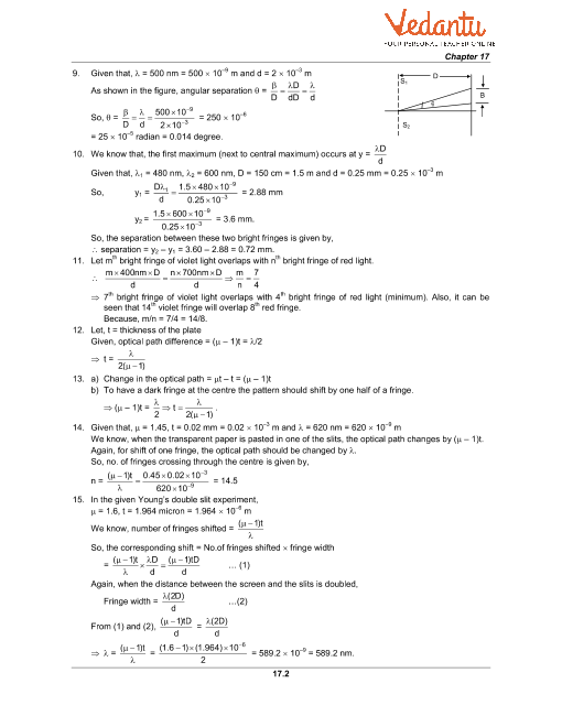 HC Verma Class 11 Physics Part-1 Solutions for Chapter 17 - Light Waves