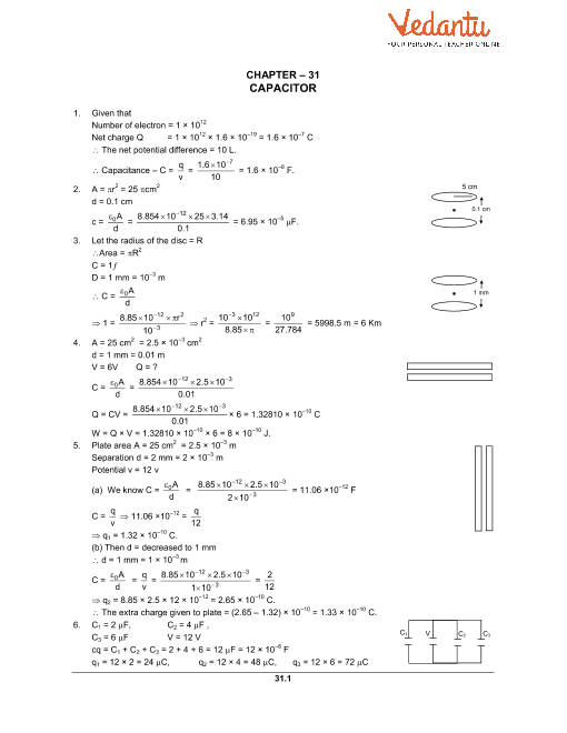 HC Verma Class 12 Physics Part-2 Solutions for Chapter 31 - Capacitors