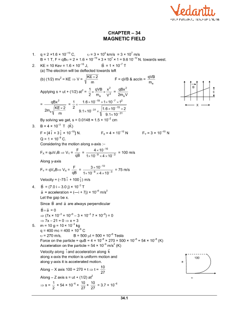 HC Verma Class 12 Physics Part-2 Solutions for Chapter 34