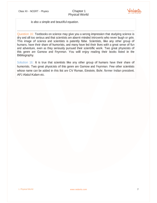 NCERT Solutions for Class 11 Physics Chapter 1 Physical World - Free PDF