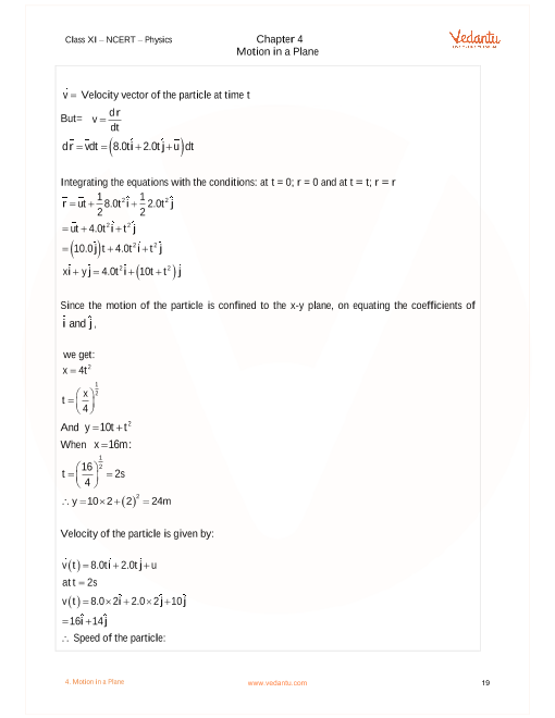 NCERT Solutions for Class 11 Physics Chapter 4 Motion in a