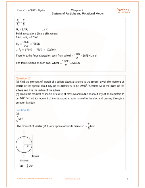 NCERT Solutions for Class 11 Physics Chapter 7 Systems of