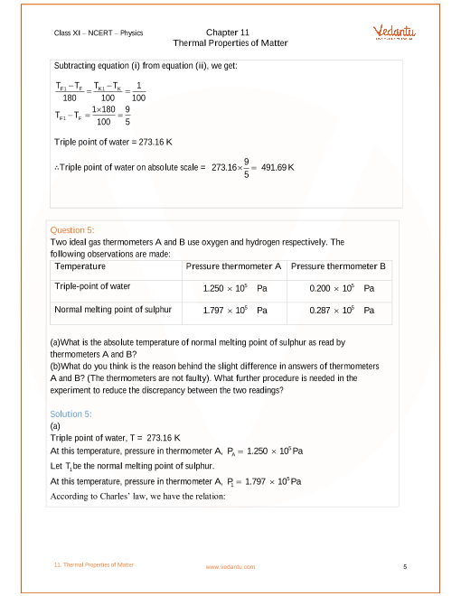 NCERT Solutions for Class 11 Physics Chapter 11 Thermal