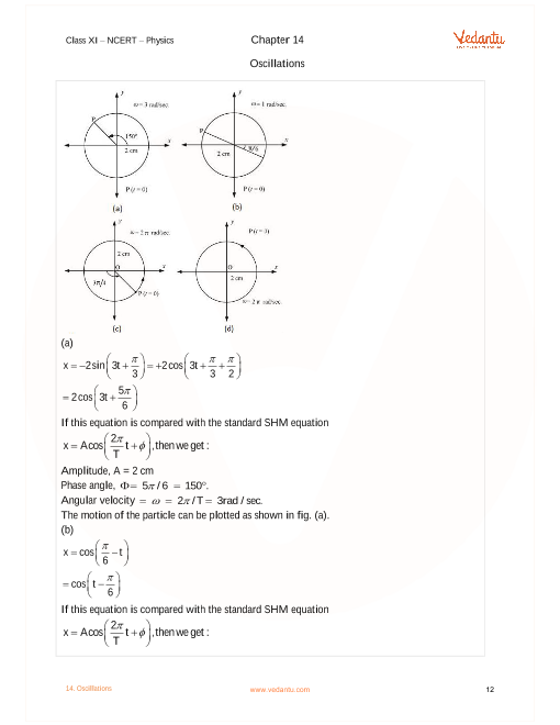 NCERT Solutions for Class 11 Physics Chapter 14 Oscillations