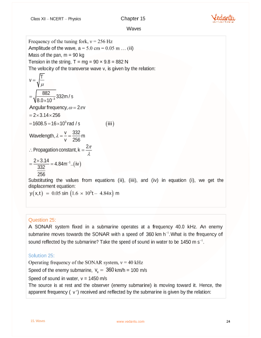 NCERT Solutions for Class 11 Physics Chapter 15 Waves - Free PDF