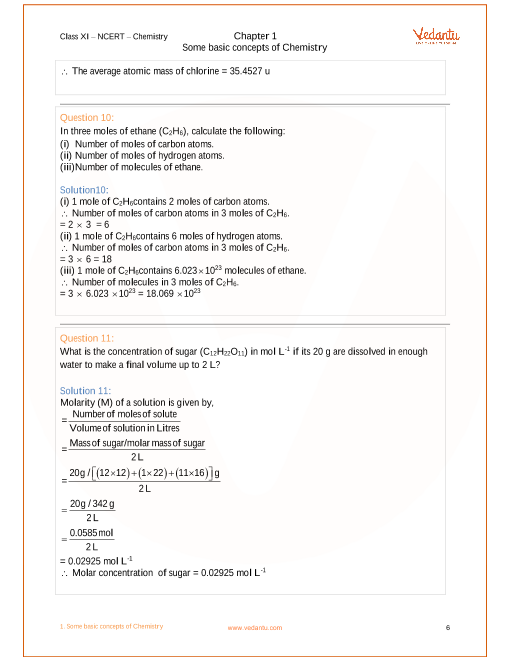 NCERT Solutions for Class 11 Chemistry Chapter 1 Some Basic Concepts