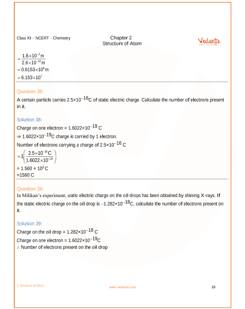 NCERT Solutions for Class 11 Chemistry Chapter 2 Structure of Atom