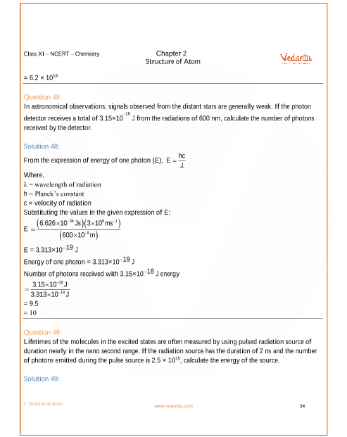 NCERT Solutions for Class 11 Chemistry Chapter 2 Structure
