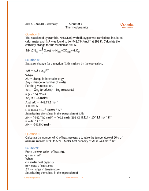 NCERT Solutions for Class 11 Chemistry Chapter 6