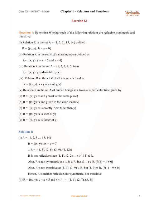 NCERT Solutions for Class 12 Maths Chapter 1 Relations and Functions ...