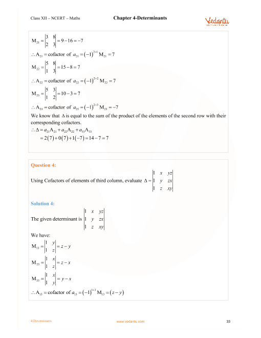 NCERT Solutions for Class 12 Maths Chapter 4 Determinants - Free PDF