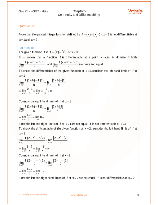 NCERT Solutions for Class 12 Maths Chapter 5 Continuity and