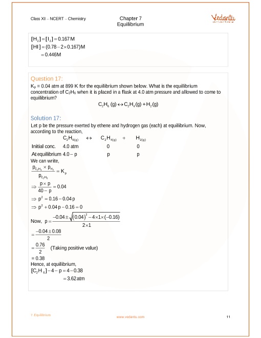 NCERT Solutions for Class 11 Chemistry Chapter 7 Equilibrium