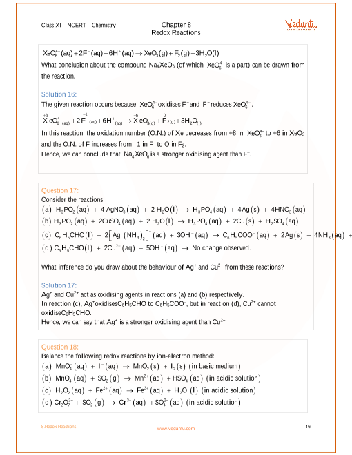 NCERT Solutions for Class 11 Chemistry Chapter 8 Redox