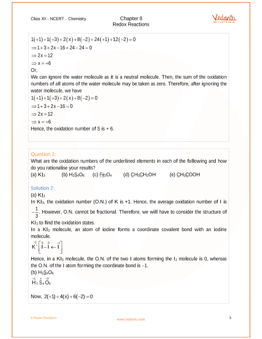 NCERT Solutions for Class 11 Chemistry Chapter 8 Redox Reactions ...