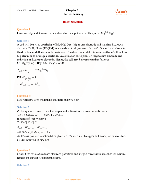 NCERT Solutions for Class 12 Chemistry Chapter 3