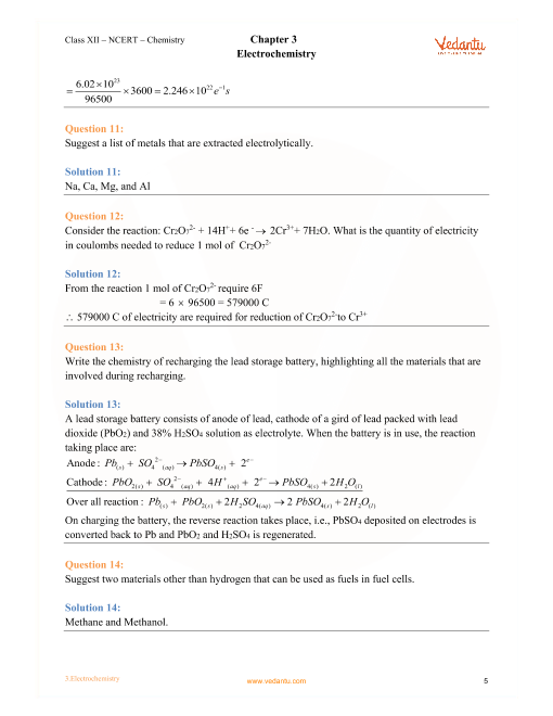 NCERT Solutions for Class 12 Chemistry Chapter 3 Electrochemistry