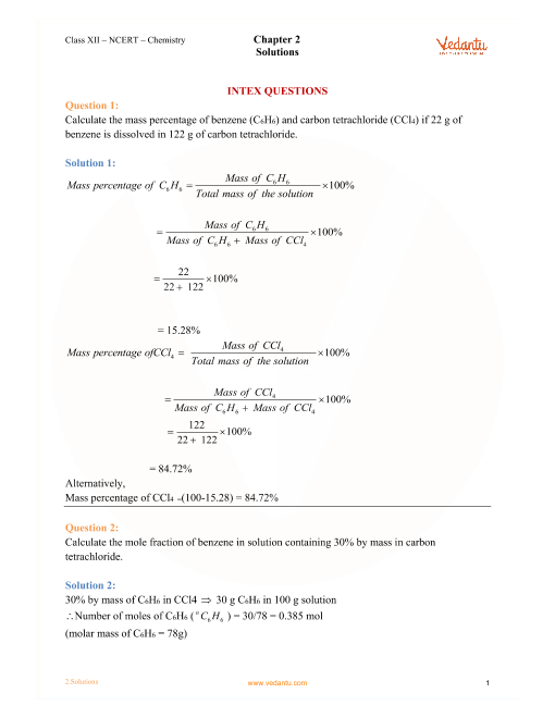 NCERT Solutions for Class 12 Chemistry Chapter 2 Solutions - Free PDF
