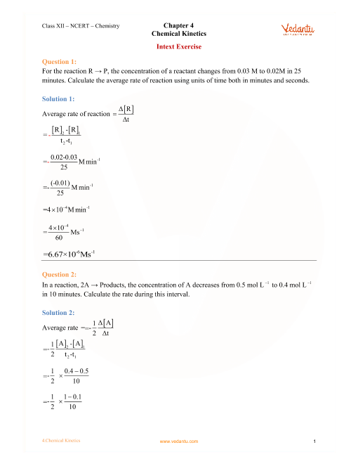NCERT Solutions for Class 12 Chemistry Chapter 4 - Chemical