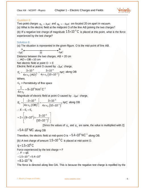 NCERT Solutions for Class 12 Physics Chapter 1 Electric