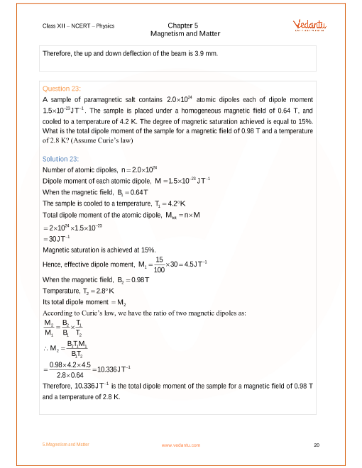 NCERT Solutions for Class 12 Physics Chapter 5 Magnetism and