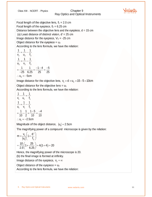NCERT Solutions for Class 12 Physics Chapter 9 Ray Optics and