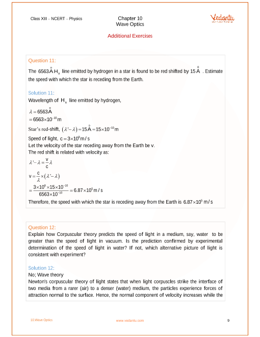 NCERT Solutions for Class 12 Physics Chapter 10 Wave Optics - Free PDF