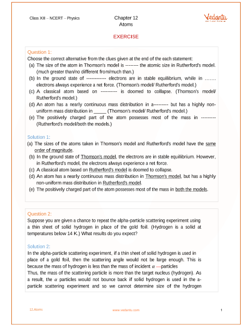 NCERT Solutions for Class 12 Physics Chapter 12 Atoms - Free PDF
