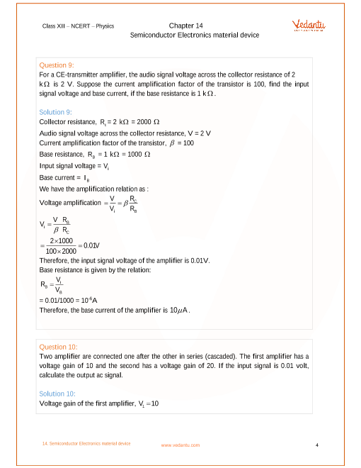 NCERT Solutions for Class 12 Physics Chapter 14 Semiconductor