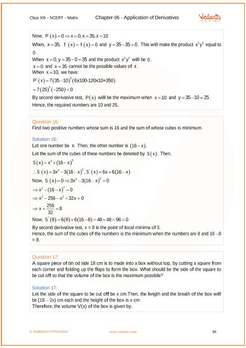 NCERT Solutions for Class 12 Maths Chapter 6 Application of
