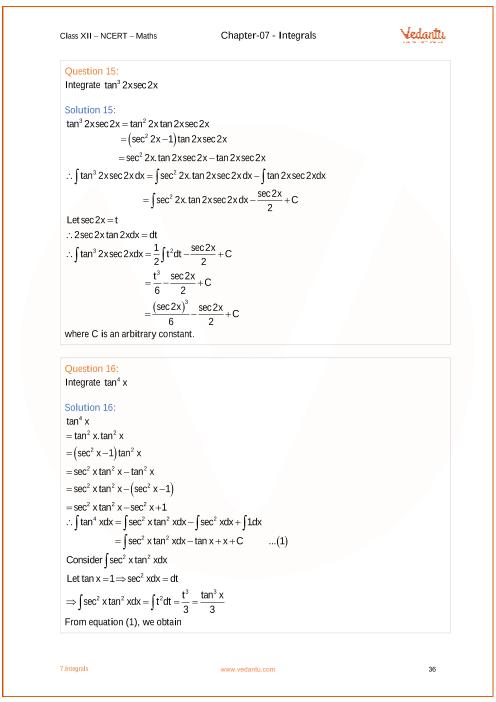 NCERT Solutions for Class 12 Maths Chapter 7 Integrals - Free PDF