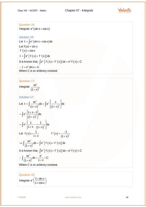 NCERT Solutions for Class 12 Maths Chapter 7 Integrals - Free PDF