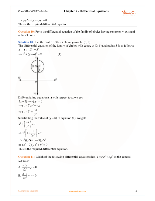 NCERT Solutions for Class 12 Maths Chapter 9 Differential Equations