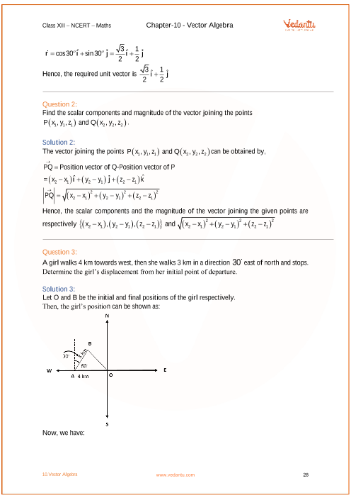 NCERT Solutions for Class 12 Maths Chapter 10 Vector Algebra - Free PDF