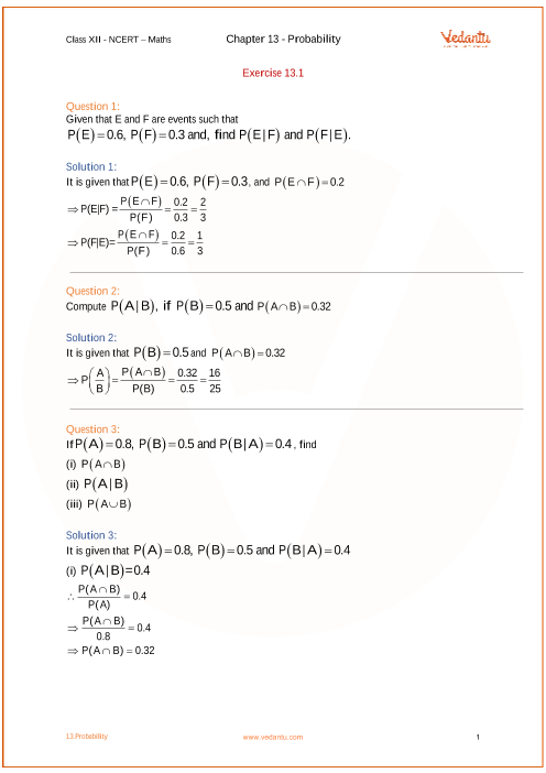 NCERT Solutions for Class 12 Maths Chapter 13 Probability - Free PDF
