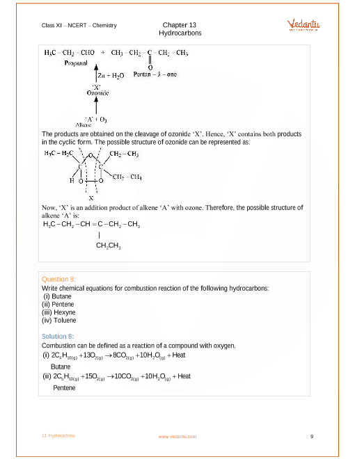 NCERT Solutions for Class 11 Chemistry Chapter 13 Hydrocarbons