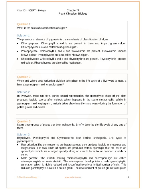 NCERT Solutions for Class 11 Biology Chapter 3 Plant Kingdom - Free PDF
