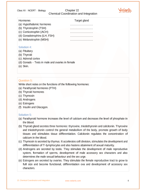NCERT Solutions for Class 11 Biology Chapter 22 Chemical