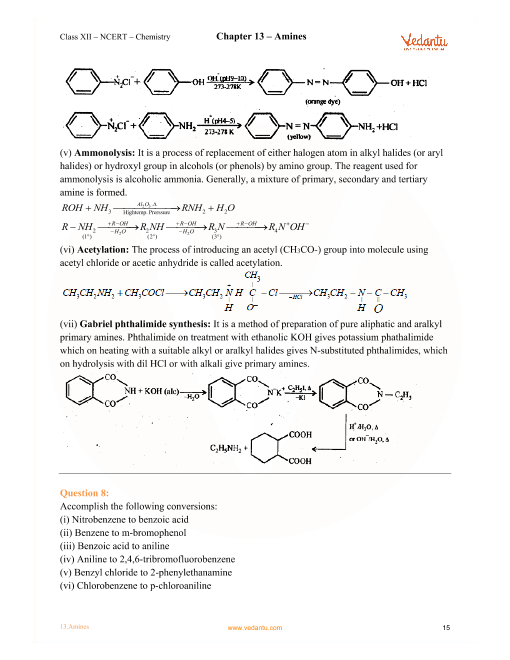 NCERT Solutions for Class 12 Chemistry Chapter 13 Amines